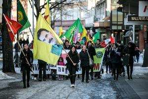 Marschen till stöd för folket i Syriska Afrin började i Borlänge centrum med målet Kupolen.