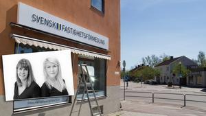Maria Martinsson och Malin Nielsen på Svensk Fastighetsförmedling i Fagersta flyttar in i El-centralens tidigare lokal. Bild: Joel Engström/Privat.