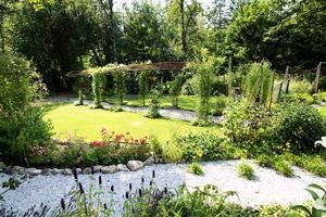 Trädgården på baksidan av huset. Gunn och Håkan har byggt upp trädgården.