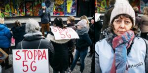 Ett trettiotal personer deltog i manifestationen mot 5G i Sundsvall. Maria Stjärnalv var initiativtagare.