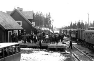 Folksamling vid Röjans järnvägsstation i början av 1930-talet.