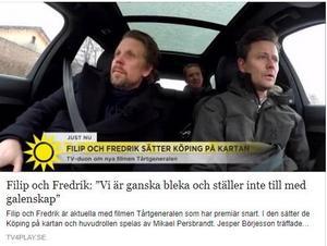 Filip och Fredrik uppmärksammas av TV4:s Nyhetsmorgon.