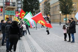 Kurdisk demonstration mot Turkiets invasion i norra Syrien.