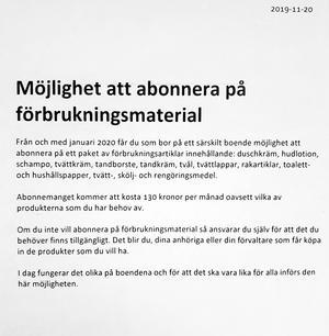 Borlänge kommuns utskick som under förra veckan gick ut till boende och anhöriga på de särskilda boendena.