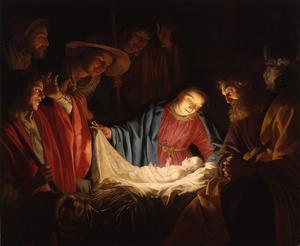Under julen firar vi att vår frälsare föddes som ett gossebarn i en krubba för drygt 2 000 år sedan. Målning av Gerard van Honthorst från 1622.