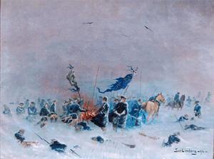 Härdalsfödde Sven Linnborgs fina målning  från 1892 på Armfeldttågets avslut. Foto: Jamtli.