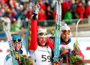 Vladimir Smirnovs största ögonblick som skidåkare – OS-guldet i Lillehammer, 27 februari 1994. Samtidigt det första OS-guldet för den då nya nationen Kazakstan. Foto: TT