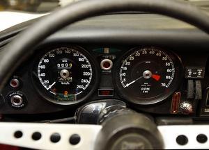 Hastighetsmätaren var tidigare i miles. Nu är den konverterad till kilometer och nollställd.