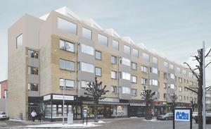 Så ser påbyggnaden ut, sedd från Alkärrsplan. Radhus planeras på taket på Apotekaren 24. Illustration: Elding Oscarson