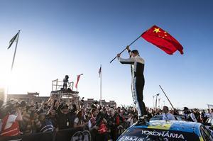 Thed Björks säsong inleddes strålande, med en seger i Marrakech inför hundratals anställda från den kinesiska biltillverkaren Lynk & Co som kickstartade sin motorsportsatsning just den helgen. Inför finalen på söndag har Thed fortfarande chansen mästartiteln. Arkivfoto: Cyan Racing