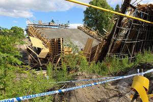 Den rasade bron över järnvägen i Ludvika 2017. Foto: Per Frost.