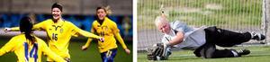 Amanda Wegerman (i mitten på bilden till vänster) och Malin Reuterwall ska hjälpa Sverige i U20-VM.