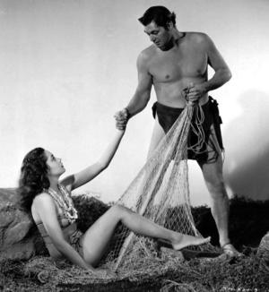 Den skickliga simmnaren Johnny Weissmüller fick spela Tarzan på filmduken.