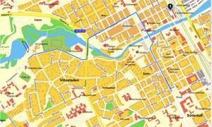 Karta över Prideparaden i Gävle 2016 (rutten är den blå linjen)