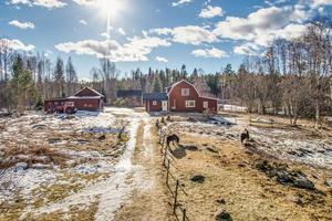 Hästgård med sjötomt, stall med tre boxar, paddock, en och en halvplasvilla med utbyggnad.