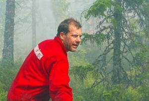 Örjan Krantz, räddningstjänsten Matfors, var en av de 20-tal personer som slet i hettan för att släcka branden vid Fågelberget.