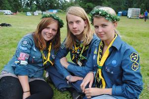 Moa Wikblad, Otto Tysklind och Emma Forsgren vilar på gräset efter att ha visat många scouter hur man dansar runt en svensk midsommarstång.