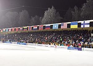 Packat på läktaren i Syktyvkar halvtimmen före söndagens VM-final.
