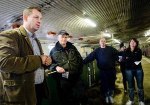 Nico Vreeborg gav deltagarna i uppgift att svara på frågor gällande ladugårdsmiljön. Hur många av kossorna äter? Att en ko äter bra är alltid ett gott tecken för kon och för mjölkproduktionen förklarade han senare.