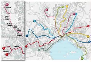 Motsförslag. Den stora kartan visar Smartkolls förslag till ny linjesträckning. De små kartorna till vänster är skribentens förslag till förbättringar av linje 1 och linje 6.grafik: daniel guerra