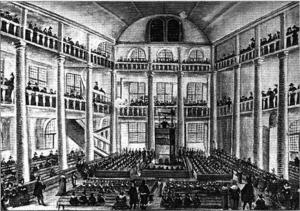 De legendariska Charentontemplet i Paris avmålat 1648. Och visst ser det ut som ett svenskt missionshus.