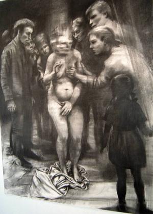 """ÖP:s recensent är imponerad över Stina Wollters nya utställning på Bolin & Bastard som visar ett flertydigt måleri, exempelvis den mardrömslika """"Att stå där""""."""