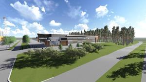 Så här är det tänkt att multisporthallen ska se ut mot Idrottsvägen.