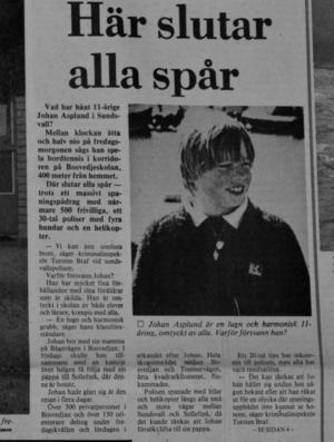 Artikel som publicerades i Sundsvalls Tidning söndagen den 9 november 1980, två dagar efter försvinnandet.