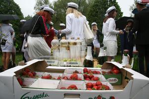 Jordgubbar i massor hade kommittén köpt in till champagnefrukosten i Styrjärnsparken. Det mesta blev över.