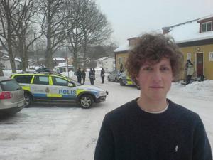 Här bakom Oskar Schriever-Abeln sköt polisen den 20-årige eleven på skolan.