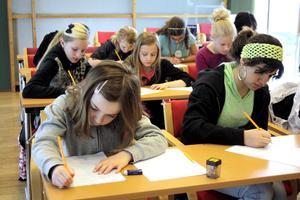 Ett 15-tal unga tjejer skrev koncentrerat utifrån de uppgifter de fick av författaren Tomas Dömstedt.