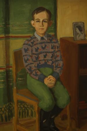 Kalle Bohlin ägnade sig också åt porträttmålning. Skolgossen på bilden satt modell i slutet av femtiotalet i familjens lägenhet i gamla ålderdomshemmet i Ällvik.