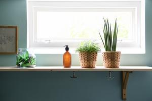 Även en tvättstuga behöver piff och pynt. Eller kanske i synnerhet en tvättstuga. Sara Hellström har jobbat med gröna växter och trä för att skapa en varm atmosfär.