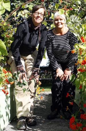 Maria Bremefors, till vänster, och Märit Andersson ansvarar för trädgården respektive Stenegårds hälsoprofil.