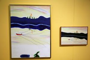 Drömgångaren som kliver över trädtopparna är ett återkommande tema i Hans Vikstens måleri.