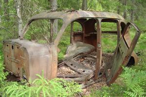 Det gamla vraket i skogen, sedd första gången 1960 sedan dess en viss förändring har skett.