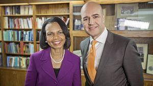 Condolleeza Rice intervjuades av Fredrik Reinfeldt.