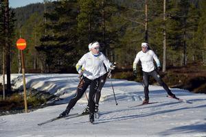 Juniorlandslaget på snö på Idre Fjäll med Moa Olsson in täten.