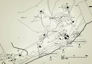Skiss över tunnlarna i berganläggningen Ge1.