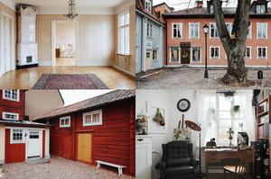På Stora Torget i Hedemora är den här borgargården till salu. Till fastigheten hör tre lägenheter, en affärslokal,  en paradvåning, ett timrat uthus med stall och bodar och en källare som troligen härstammar från 1750-talet.