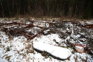 Dumpningsplats i skogen utanför Orsa.