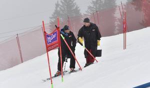 Markus Waldner FIS och Adelbodens tävlingsledare Hans Pieren ger upp kampen mot vädret.