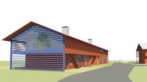 Skissen visar huvuddragen och karaktären arkitektfirman har tänkt sig för husen i området, men berättar att resultatet ska bli lite mer modernt.