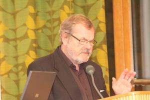 Stefan Haglund i talarstolen i plenisalen i Harmånger.Föreslår en borgen på 650 000 kr till föreningen i stället.