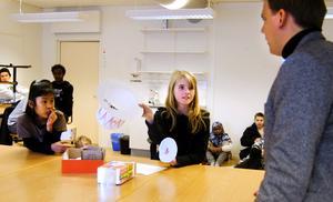 Erni Taleb och Berber Hobbenschot presenterar sin hatt med infälld lampa för Johas Karlsson, projektledare för nödhusprojektet inom Formens hus.