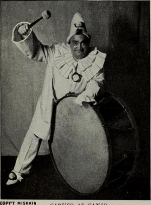 Den berömde italienske tenoren Enrico Caruso i sin paradroll som Canio i