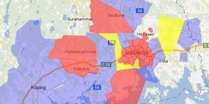 De röda fälten visar de drabbade områden.