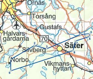 Silvbergsfältet och Säters centralort ligger inom inmutningen