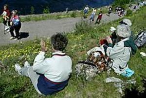 Hejade fram älvor. Gerd Hedström, Gurli Persson och Solweig Adolfsson trivdes med fikakorgen i gröngräset vid sidan om loppet. De har själva varit älvor under flera lopp genom åren. I år nöjde de sig med cykelturen från och till Skutskär.\nFoto: LEIF JÄDERBERG