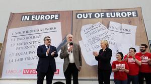 Labourledaren Jeremy Corbyn kampanjarför att stanna i EU.